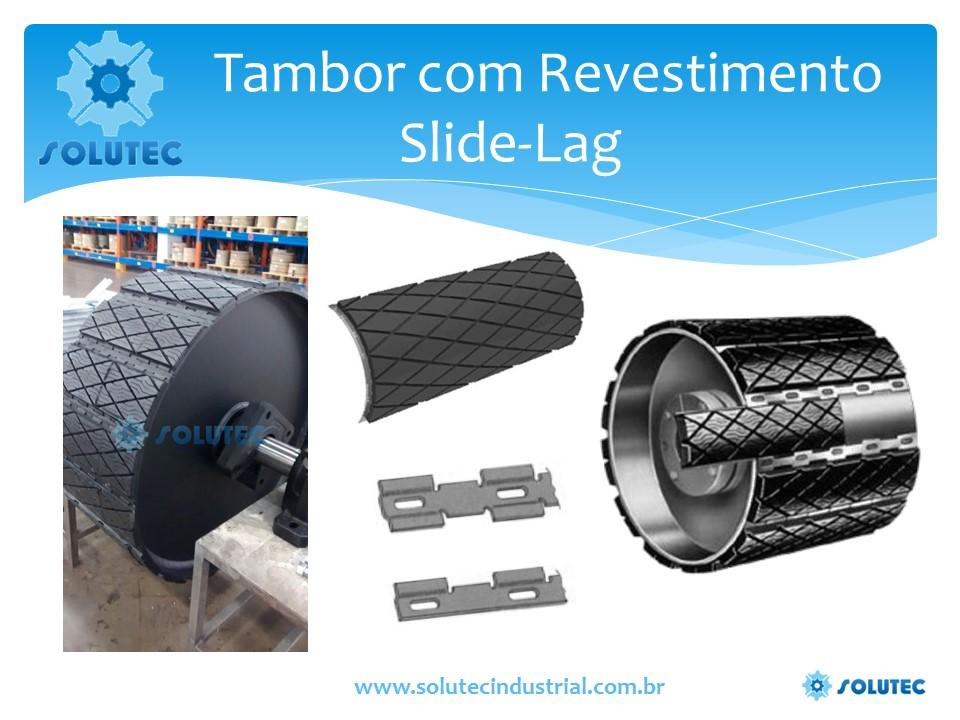 Tambor com Slide-Lag, Tambor com Revestimento Slide Lag, Slide Lagging, Revestimento borracha removível, Polia Elevador
